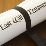 last will and testament in ribbon